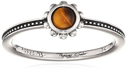 Thomas Sabo Damen-Verlobungsringe 925 Sterlingsilber mit Rund Tigerauge '- Ringgröße 54 (17.2) TR2151-826-2-54