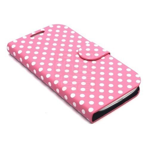 Kolorfish iLittle Polka Dots Pattern Designer Leather Flip Stand Case Cover for Samsung Galaxy S3 Pink
