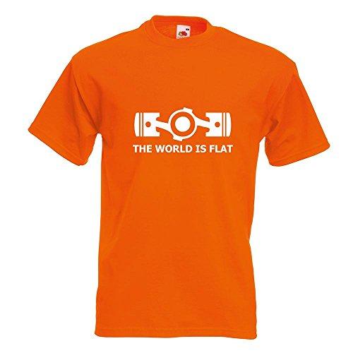 KIWISTAR - the World is flat T-Shirt in 15 verschiedenen Farben - Herren Funshirt bedruckt Design Sprüche Spruch Motive Oberteil Baumwolle Print Größe S M L XL XXL Orange