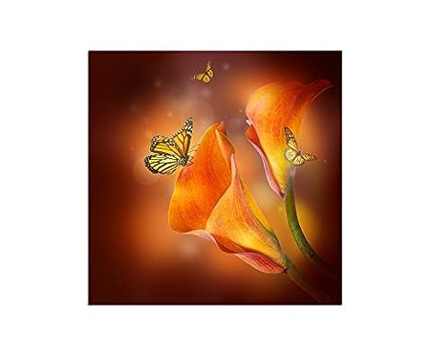 80x 80cm–Décoration murale Motif fleurs de lys Papillons–Toile sur châssis moderne élégant–Photos et