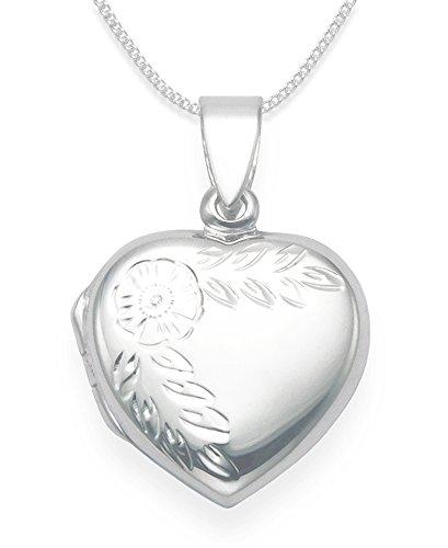 925/1000 Sterling Silber Herz Anhänger mit Blumenmotiv auf 41cm silber kette 3 g Größe: 17 mm x 17 mm - 8021/8500 16 inch (Silver-medallion-anhänger)