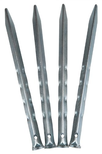 Mountain Warehouse Strong Secure Metal Durable Ripple Camping Hiking 9 inch Tent Pegs - 10 pack Peg Silver