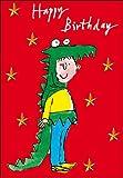 Tarjeta de felicitación–cumpleaños de niño–disfraz de Dino por Quentin Blake