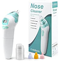 LifeBasis Baby Nasal Aspirator Electric Nose Snot Sucker Nostril Cleaner- 3 Power Levels -Safe Hygienic LCD Screen 3 Sizes of Nose Tips and Music Function - 100% Safe For Newborn Babies Infant Toddler Health and Hygiene
