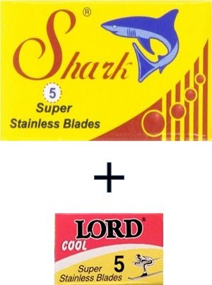 5 lames Shark Super Stainless (1 paquet) plus 5 lames Lord Cool (1 paquet)