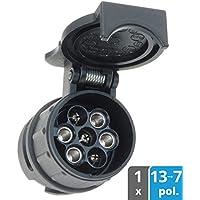 valonic Anhänger Adapter 13 auf 7 polig von Auto, PKW, KFZ und LKW zu Anhänger, kurz, schwarz, Anhängerkupplung, Adapterstück