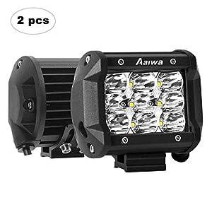 AAIWA Focos de Coche, LED Luz de Trabajo Bar Focos Led para 2 Piezas 9 LED 4″ 27W Faro de Trabajo LED Off Road, 4×4, Tractores, camión, Todoterreno, Barco.