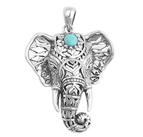 Ziwater Imitation Thai Silber Maskottchen Elefant Damen-Halskette Retro Ethno-Stil Schlüsselbein (Outfit Maskottchen)