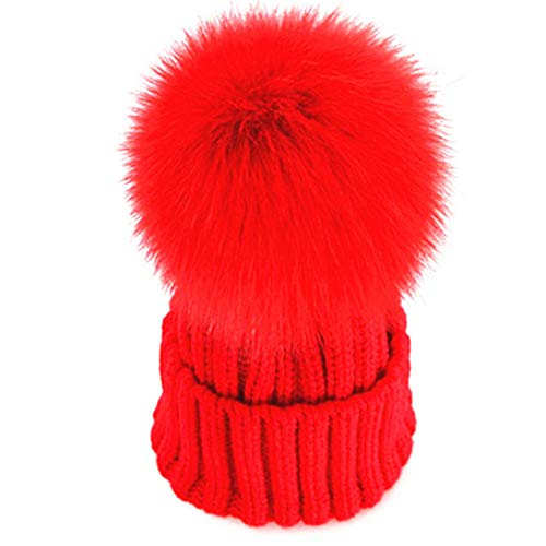 feifanshop Damen Echtfell Fuchspelz Fell Pelz Bommel Strick Mütze Winter-Mütze Bommelmütze (Rot) -