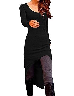 Allegra K Mujer Mangas Largas Elástico Corto Largo Dobladillo Informal Camisa Túnica XS negro