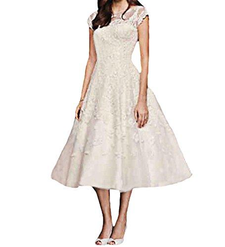 O.D.W Vintage Spitzenkleid Wadenlang Frauen Hochzeitskleider Rustikale Brautkleider fuer...