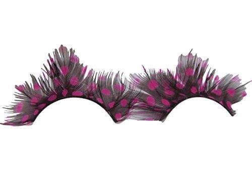 stüm Feder lang weich Make-up Irrer Spaß Halloween gepunktet Feder Wimpern - Style 10 Stylisch Hot Pink Palevioletred Punkte, One Size ()