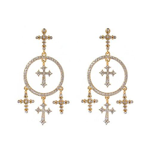 Funnrunstore Vintage Style Legierung Geschnitzte Kreuz Quaste Ohrringe -