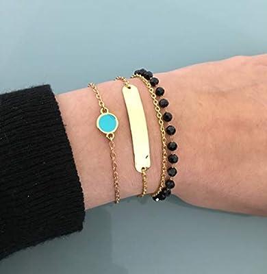 Bracelets en acier inoxydable doré, bracelet femme, bracelet doré, idée cadeau, porte bonheur, bracelet turquoise, bijoux pour femme
