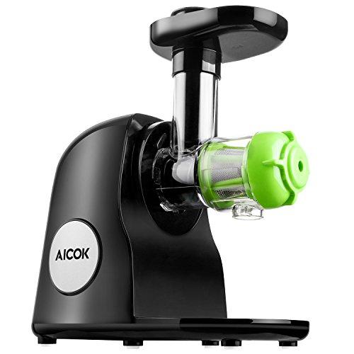 Aicok Slow Juicer Entsafter mit Geringer Lautstärke Leichter Reinigung Reverse Funktion und Maximaler Nährstoffextraktion Inklusive Reinigungsbürste