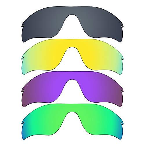 MRY 4Paar Polarisierte Ersatz Gläser für Oakley Radarlock Path sunglasses-black Iridium/24K Gold/Plasma violett/Smaragd Grün