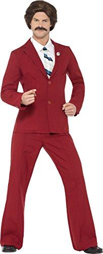 Smiffy's 20501L - Anchorman Ron Burgundy Kostüm mit Anzug Schnurrbart Mock Shirt und (Anchorman Kostüm)