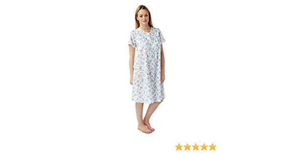 TheNightwearStore Ladies Polycotton Nightdress 46 Length Half Sleeve with a Beautiful Cotton Lace Trim