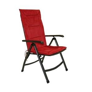 Greemotion 410558 Coussin pour fauteuil inclinable à dossier haut Rouge 120 x 47 x 4 cm