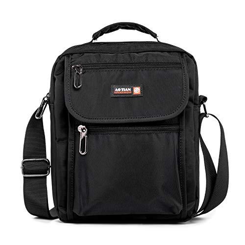 Morijoy Umhängetasche Schultertasche mit Griff Herrentasche für Tablet Nylon Männer Arbeitstasche Messenger Tasche (Schwarz S)