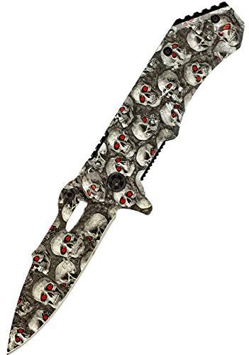 ELFMONKEY Klappmesser Deadly Skull | Taschenmesser Survival Outdoor | Einhand-Rettungsmesser extra Scharf