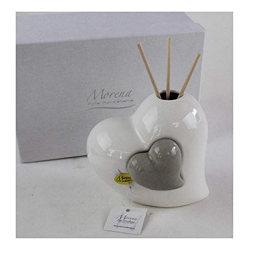 Dlm29559 profumatore grigio coppia cuore in ceramica cuoricino diffusore per ambienti matrimonio comunione nozze battesimo bomboniera bomboniera