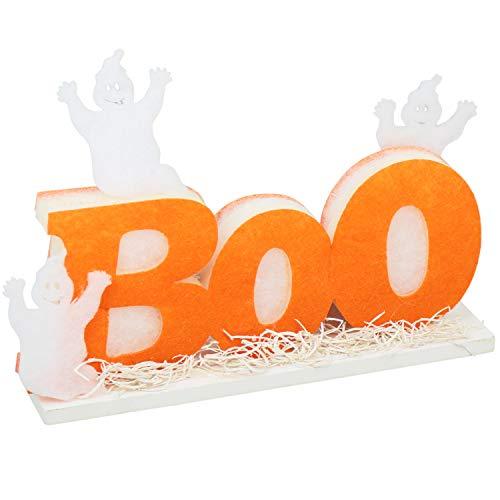 com-four® Halloween Deko Schriftzug Boo mit LED-Beleuchtung, Tisch-Dekoration mit Geistern, Deko-Aufsteller, 25 x 18 x 6 cm (01 Stück - Aufsteller)