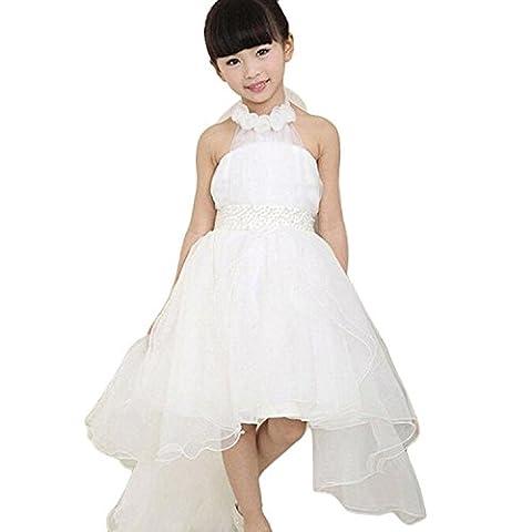 Sakure Flower Girl Robe de princesse sans manches Bowknot Off épaule Kid fête concours de beauté Mariage Demoiselle d'honneur anniversaire Wendding Tutu robes