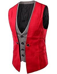 LIANIHK Clásico De un solo pecho Waistcoat Chaleco Hombre Blazers Casual Sin Mangas 4 colores