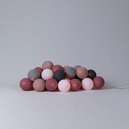 LED-Lichterkette Textil-Ball-Girlande DIRTY ROSE-1 10, 20, 35 oder 50 Kugeln Cotton Ball Lights, Größe:20 Cotton Balls Loop
