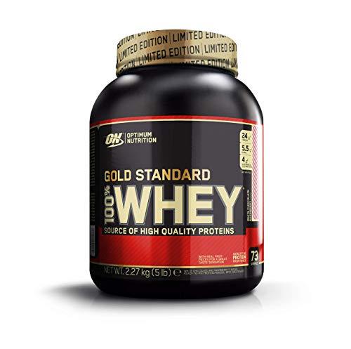 Optimum Nutrition Gold Standard Whey Protein Pulver (mit Glutamin und Aminosäuren. Eiweisspulver von ON) White Chocolate Raspberry, 73 Portionen, 2,27kg -