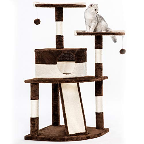 PURLOVE® Corner Cat Kitten Tree Cat Scratcher Activity Centre Scratching Post Climbing Tower Tree with Cat Toys Mouse (Brown, type 1)