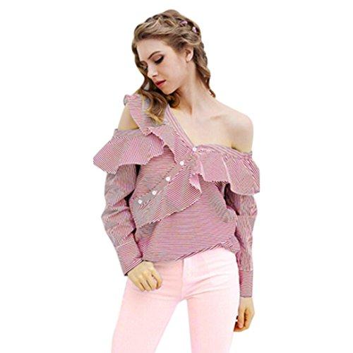 Blusen Damen, Bekleidung Longra Frauen trägerlosen gestreiften Blusen Shirt Sommer Kleidung Casual Tops Pink