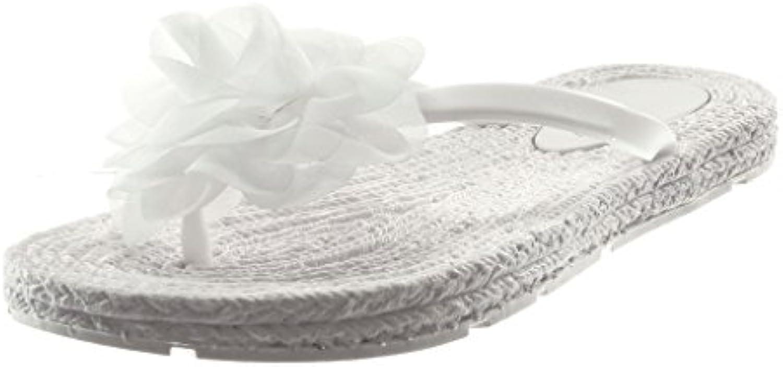 Angkorly Damen Schuhe Sandalen Flip-Flops - Slip-on - Flexible - Blumen Flache Ferse 1.5 cm