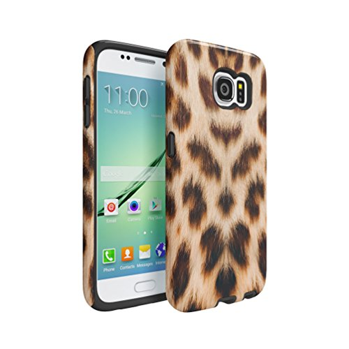 Leopard Fur Pattern Samsung Galaxy S6 Double Layer Hard Plastic Shell + Shock Absorbing TPU Bumper Tough Cover Custodia