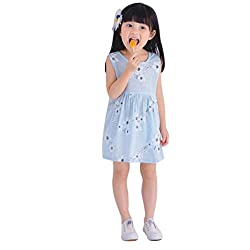 Covermason Baby Kids Girls Sleeveless Lovely Cotton Tutu Dress Flower Print Summer Party Beach Vacation Clothes