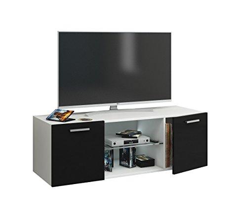 """VCM TV Lowboard Fernseh Schrank Möbel Tisch Holz Sideboard Medien Rack Bank Weiß/Schwarz 40 x 115 x 36 cm """"Lowina"""""""