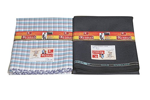 Kundan Sulz Gwalior Men's Executive Poly Cotton Blended Checks Shirt Fabric & Trouser Fabric Combo Set ( 1 Pant and Shirt Piece ) ( 1.20 & 2.20 Meters )  available at amazon for Rs.280