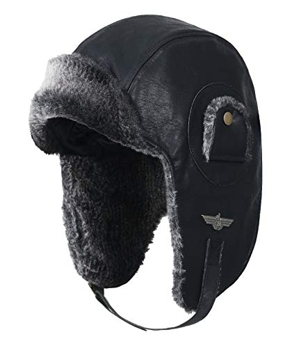 ililily künstliches Leder Flugpilot Uschanka Trooper künstliches Pelz Ohr Flaps Winter Hut, Black, ()