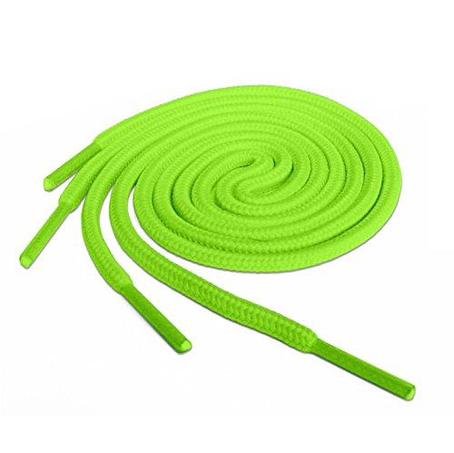 Lacci per scarpe, modello arrotondato, colorati, per scarpe da ginnastica, scarpini da calcio, adatti a tutte le marche, per adulti e bambini, Verde (Bright Green), 90 cm
