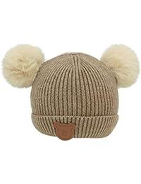 b3390801c27 Innersetting Fashion Kids Girls Bear Pattern Warm Hat Hair Ball Knitted  Beanie Cap Gift