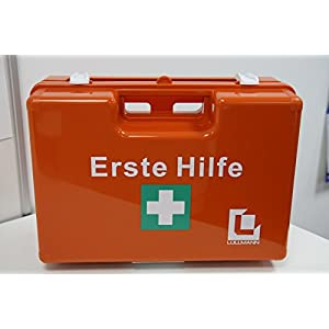 Erste-Hilfe-Koffer für Betriebe DIN 13157 PREMIUM LÜLLMANN Verbandkasten + Wandhalter orange 620139D