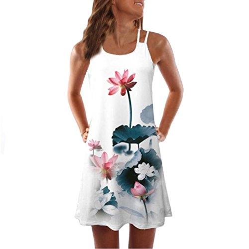 VEMOW Sommer Elegante Damen Frauen Lose Vintage Sleeveless 3D Blumendruck Bohe Casual Täglichen Party Strand Urlaub Tank Short Mini Kleid(Weiß 5, EU-40/CN-L)