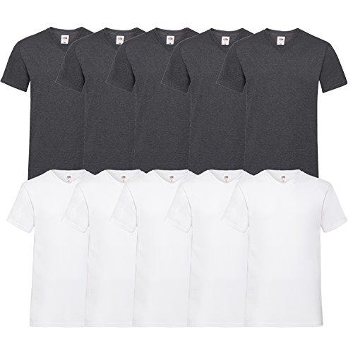 Fruit of the Loom 10 T Shirts V-Neck M L XL XXL V-Ausschnitt Diverse Farben auswählbar (XL, 5Weiß/5Dark H.Grey)