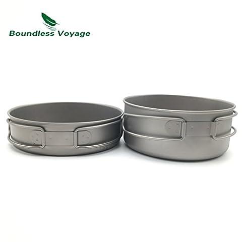 Outdoor Ultralight Titanium Foldable Pot Set Camping Cooking Pot With Titanium Pan Picnic Cookware (700ML+500ML)