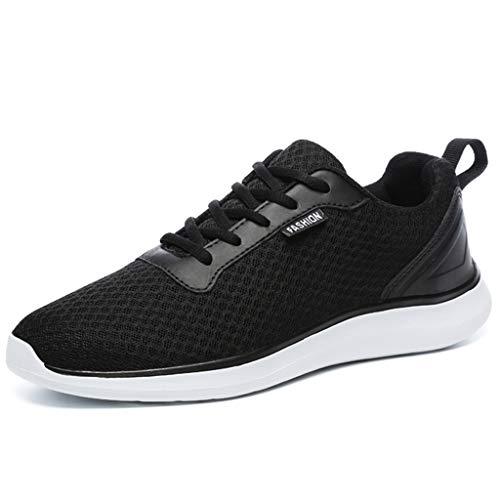BaiMoJia Herren Leichte Laufschuhe Atmungsaktiv Mesh Turnschuhe Schnüren Fitnessschuhe Sneaker, Schwarz, 44 EU Schwarze Mesh-sneaker