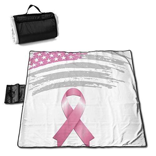 Pink Ribbon Breast Cancer Awareness Flag Portable Large Picnic Blanket 57