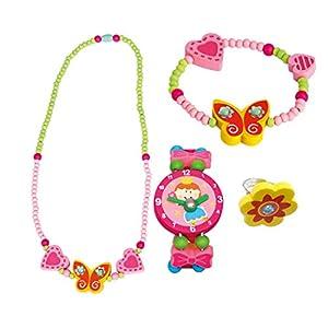 BINO 4 TLG. Set Holzschmuck Mädchen Motiv Schmetterling Gelb – Halskette Armband Armbanduhr Ring