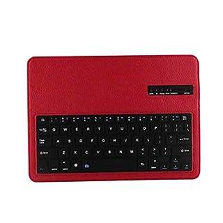 Uonlytech Abtrennbare Bluetooth Tastatur Leder Ständer Schutzhülle für Samsung Galaxy Tab s 10.5 t800 (rot)