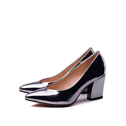 WSS chaussures à talon haut Aucune trace de cuir clair ne souligné chaussures de haut talon chaussures asakuchi mode Silver